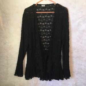 Sheer Lace Cardigan Jacket Cover Up Tie Black